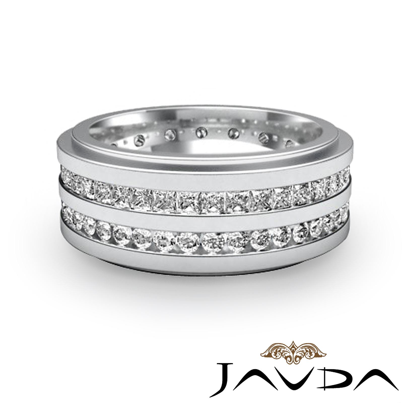 Round princess diamond mens 9mm ring eternity wedding band for Mens eternity wedding band