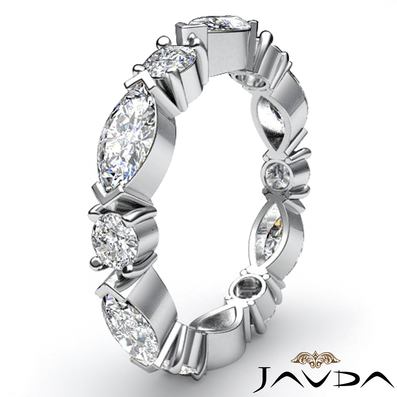 Marquise Ring Bands: Women's Eternity Band Platinum 950 Marquise Round Prong