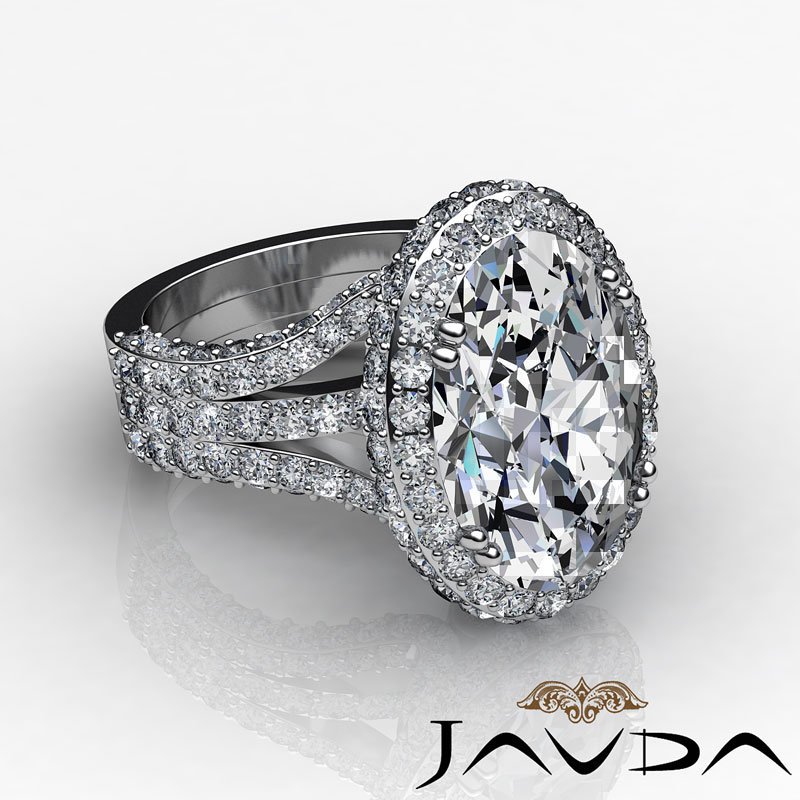 3 15ct Oval Diamond Vintage Engagement Halo Unique Ring H SI1 14k White Gold