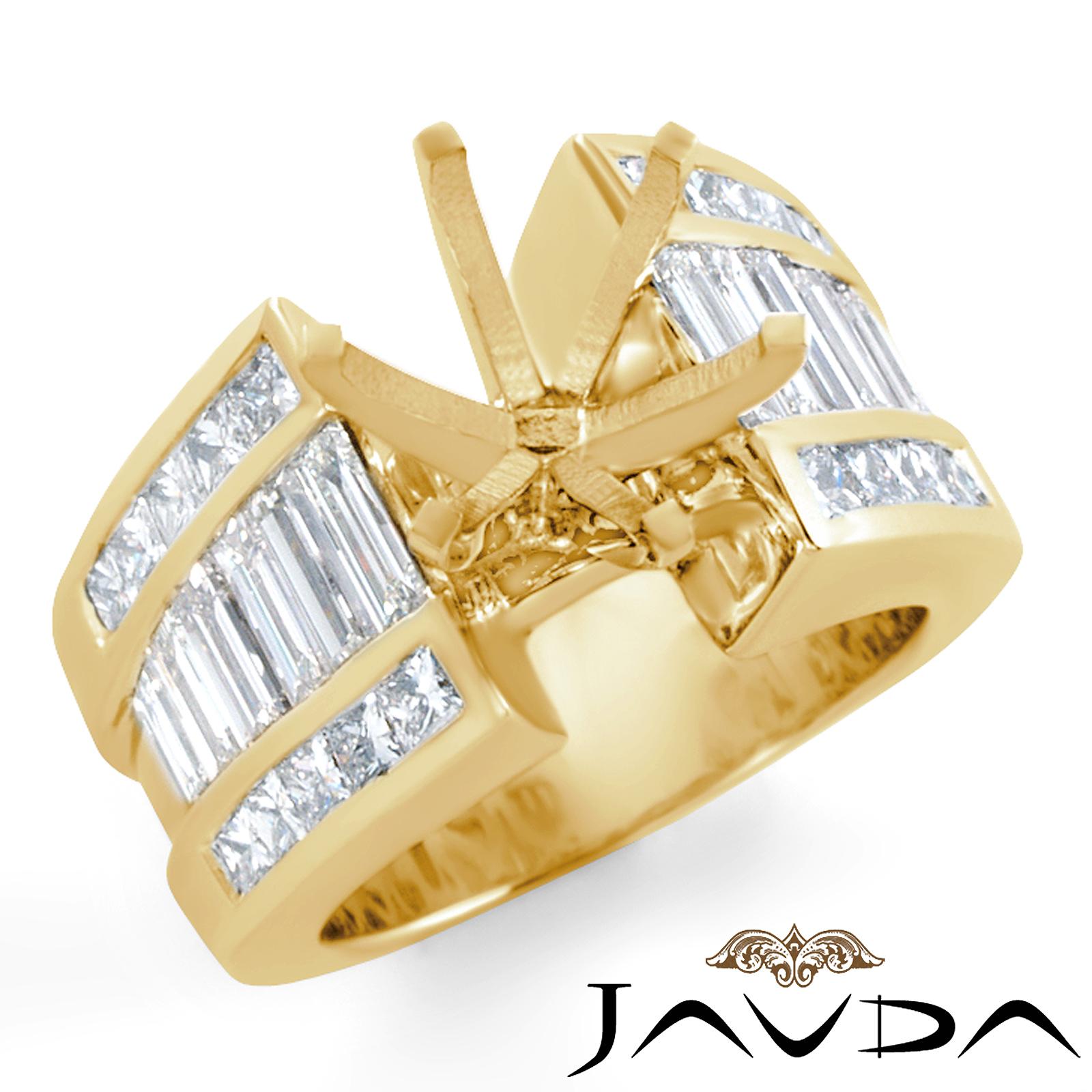 Princess Baguette Side Diamond Engagement Setting Ring 14k