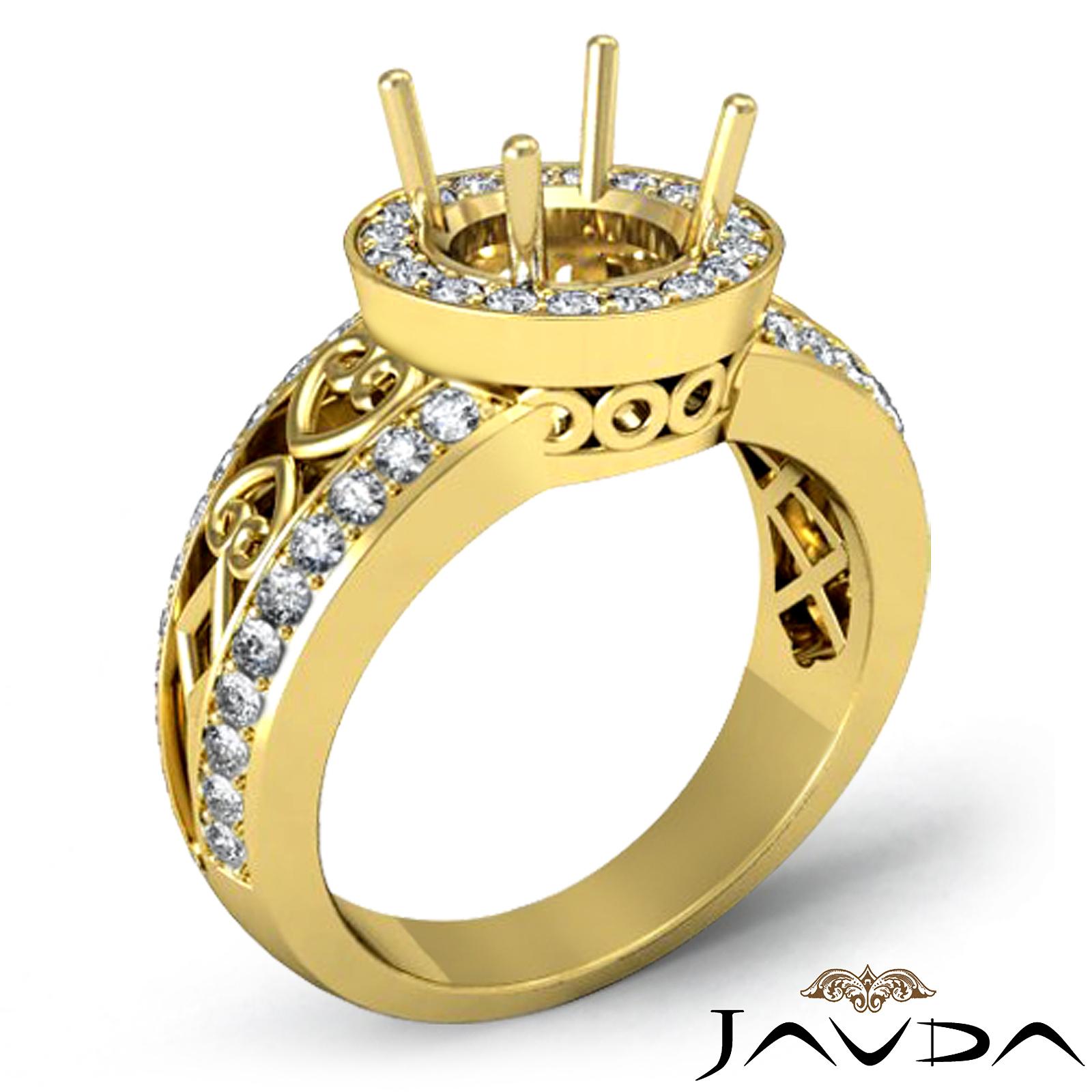 Diamond Engagement Antique Ring Halo Set 18k Yellow Gold ...