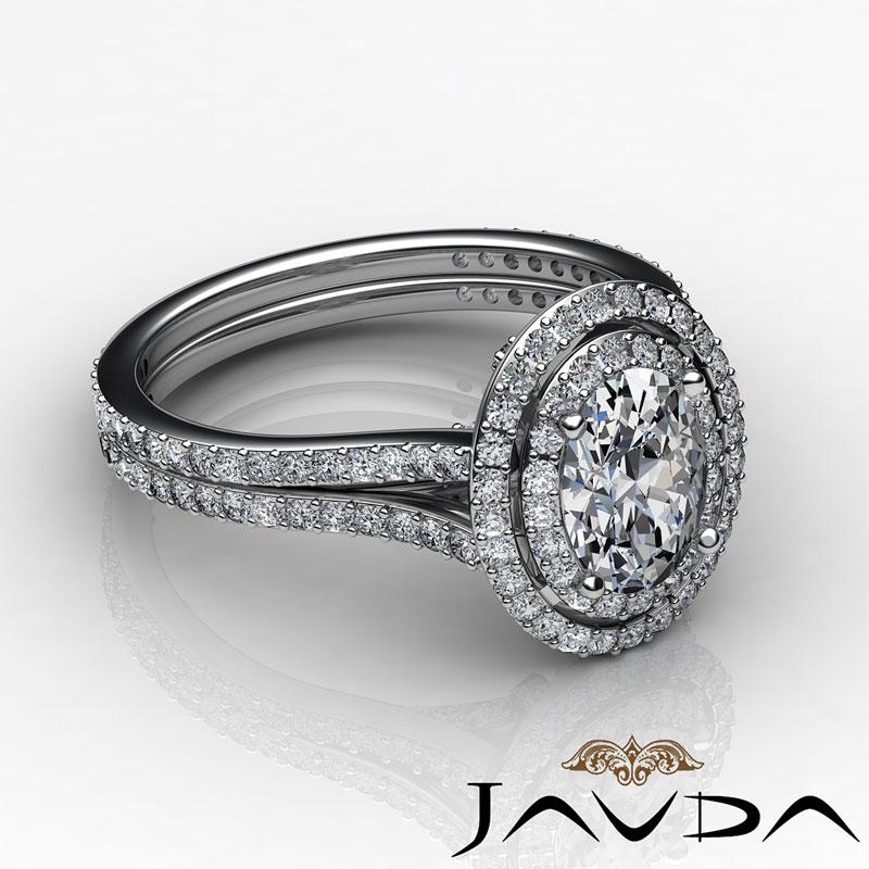 Vintage Style Split Shank Oval Diamond Engagement Ring GIA H VS2 Platinum 2 5