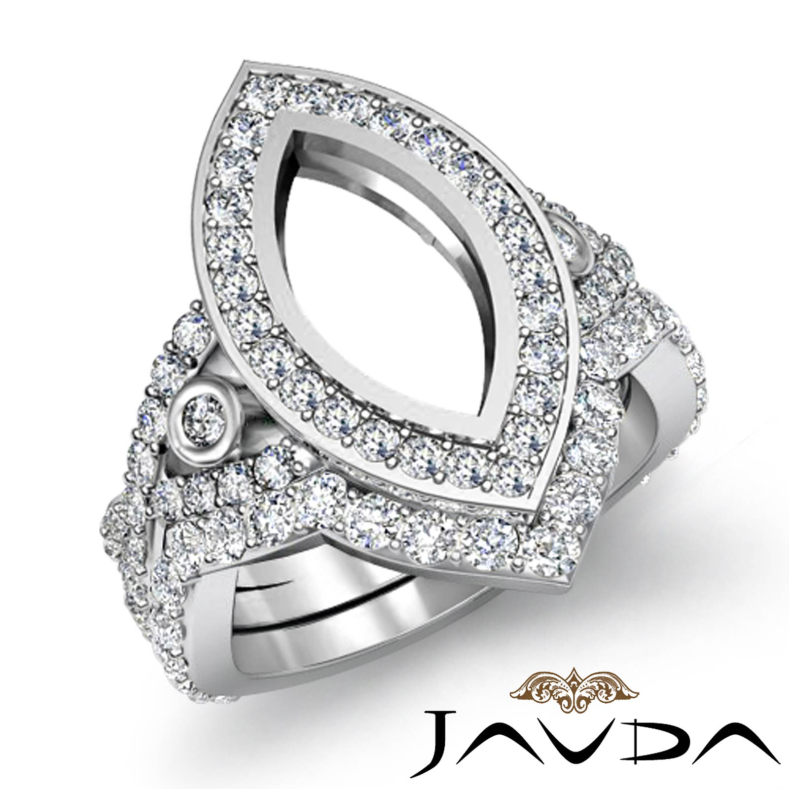 Marquise Diamond Engagement Ring Bridal Sets Platinum 950 Semi Mount 2 8Ct