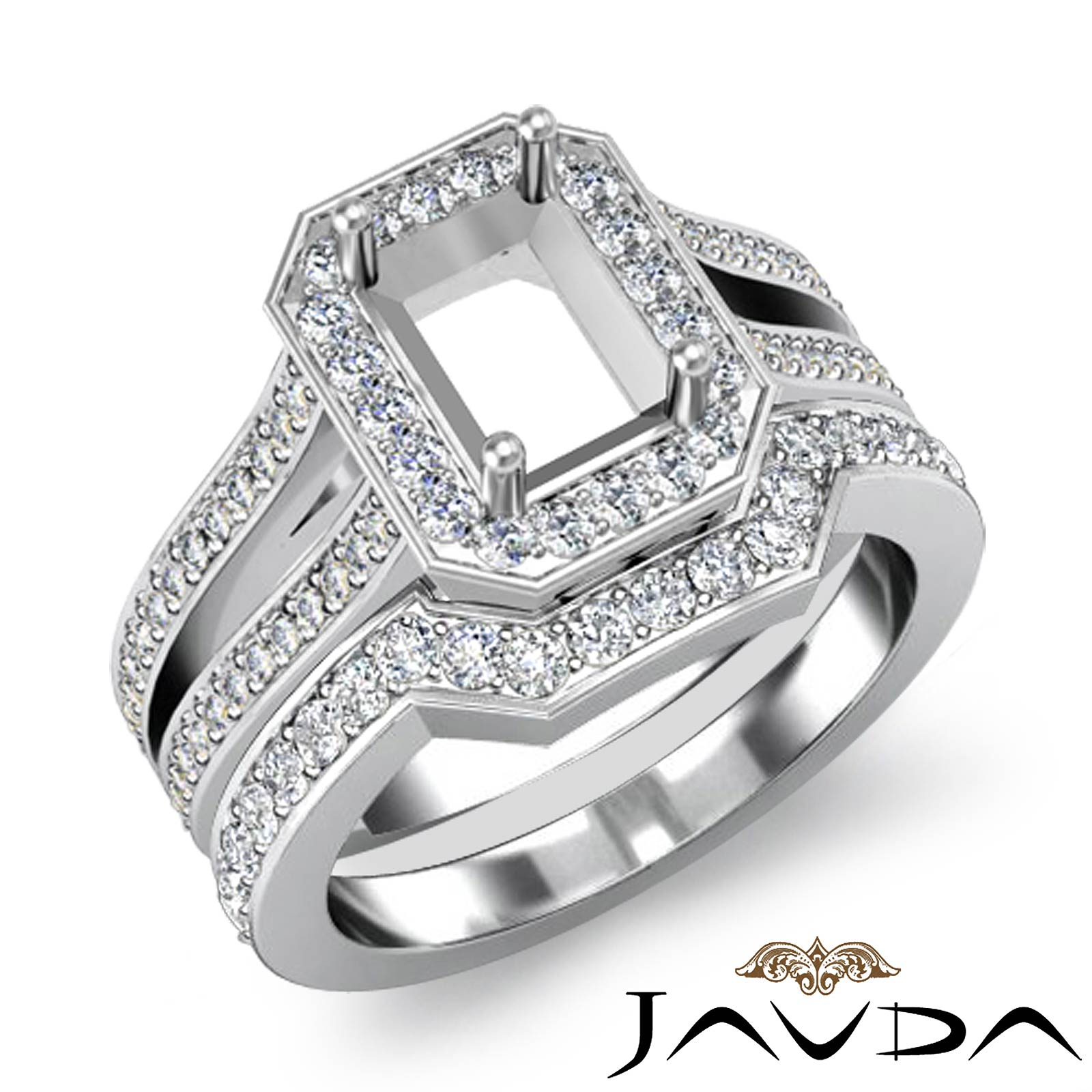 Diamond Engagement Pave Setting Ring Emerald Bridal Sets Platinum 950 14Ct