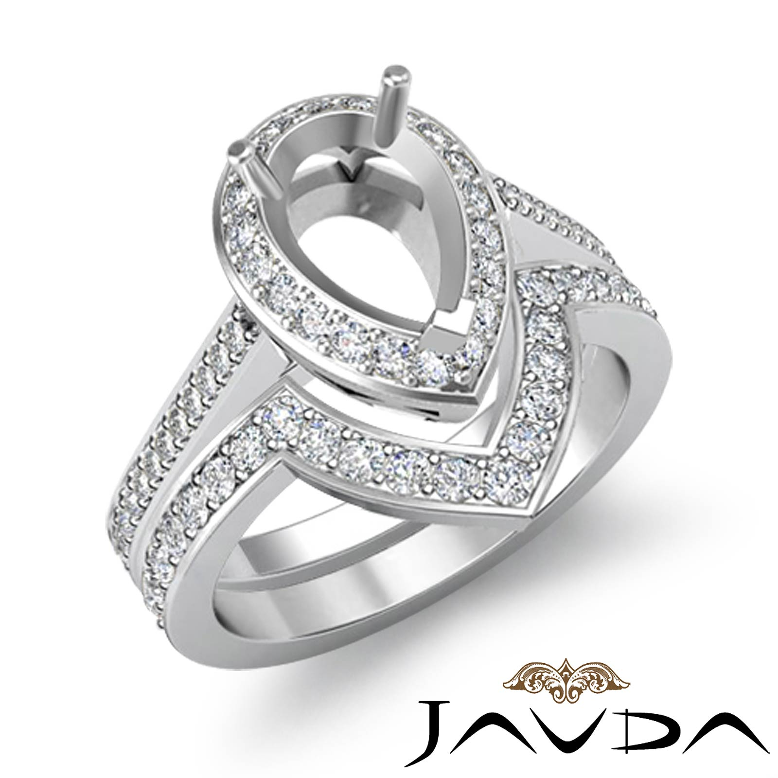 Diamond Engagement Halo Pave Ring Pear Bridal Sets