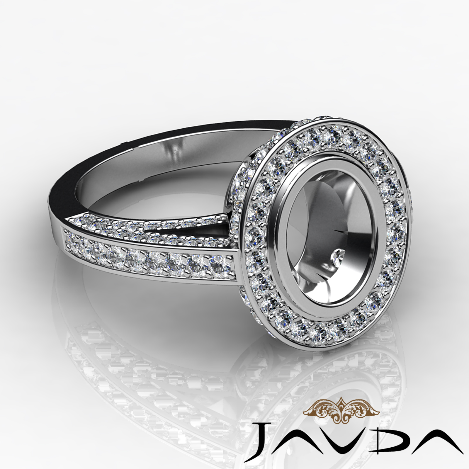 Halo Setting Diamond Engagement Oval Bezel Semi Mount Huge Ring Platinum 2Ct