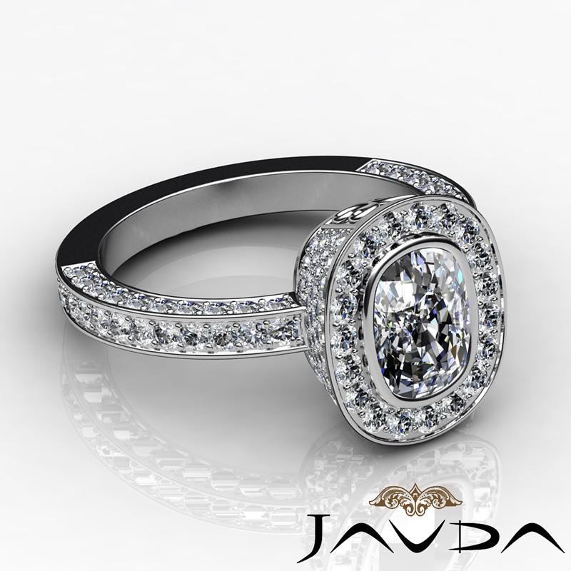 halo cushion studded engagement ring i si1