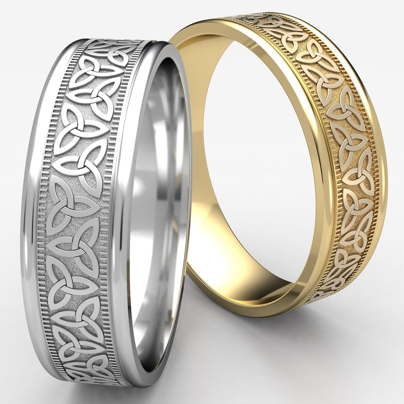 14k Yellow Gold High Polished 2mm Traditional Milgrain: Love Knot Traingle Round Edge Men's Wedding Band 14k Gold