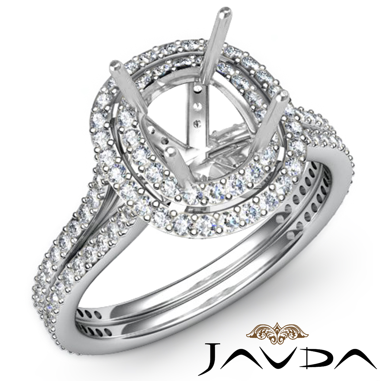 1 55ct Diamond Engagement Ring 14k White Gold Halo Setting