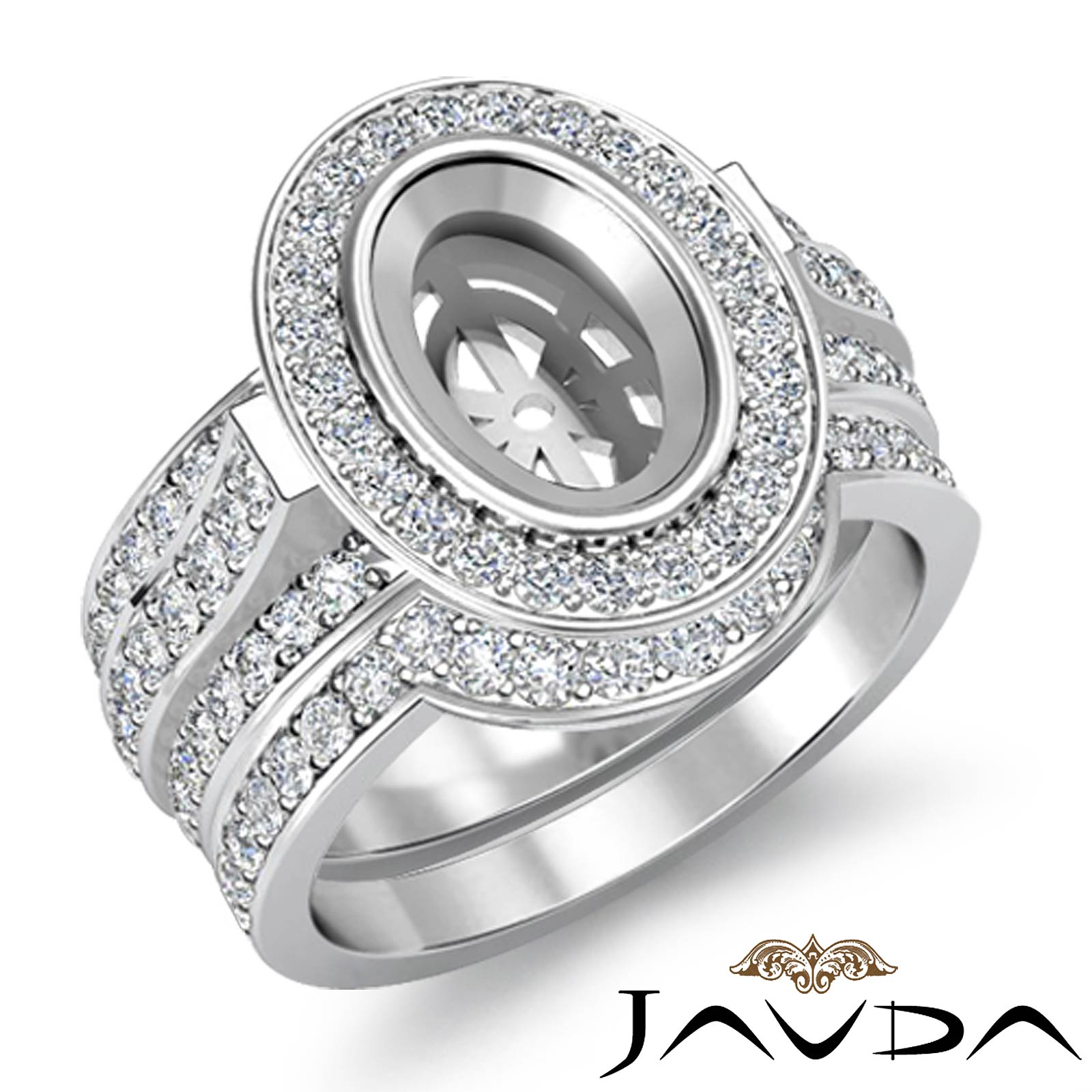 Diamond Engagement Pave Ring Bridal Sets Platinum 950 Oval