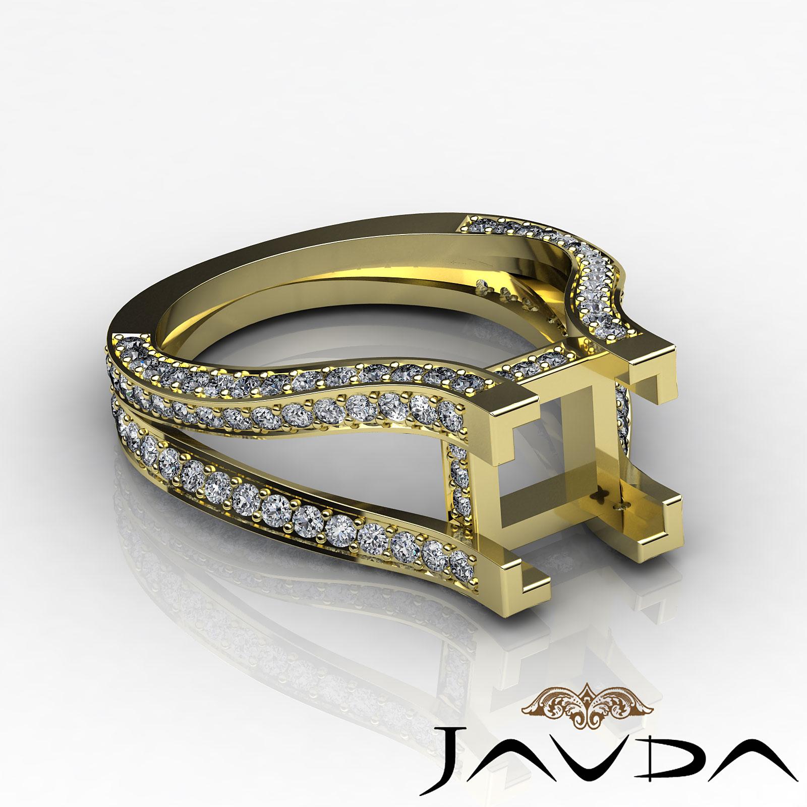 Diamond Engagement Ring 14k Yellow Gold Princess Semi Mount Pave Setting 1 4C