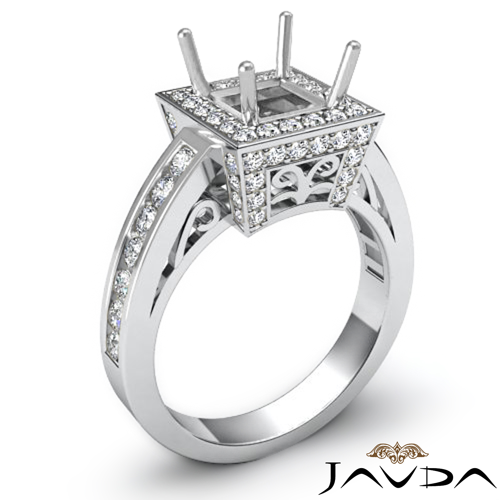 filigree diamond engagement halo pave ring princess cut. Black Bedroom Furniture Sets. Home Design Ideas