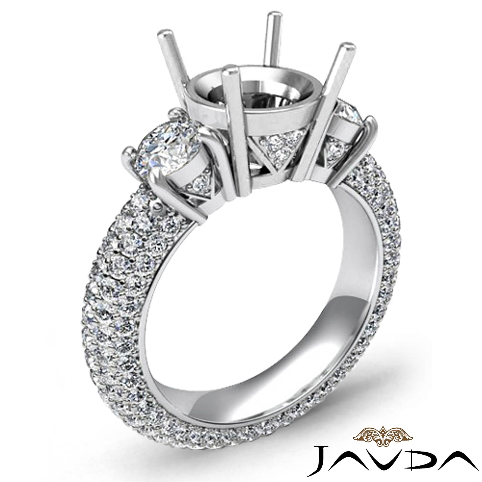 Three 3 Stone Round Diamond Engagement Ring Setting 14k W Gold Semi Mount 2 6Ct