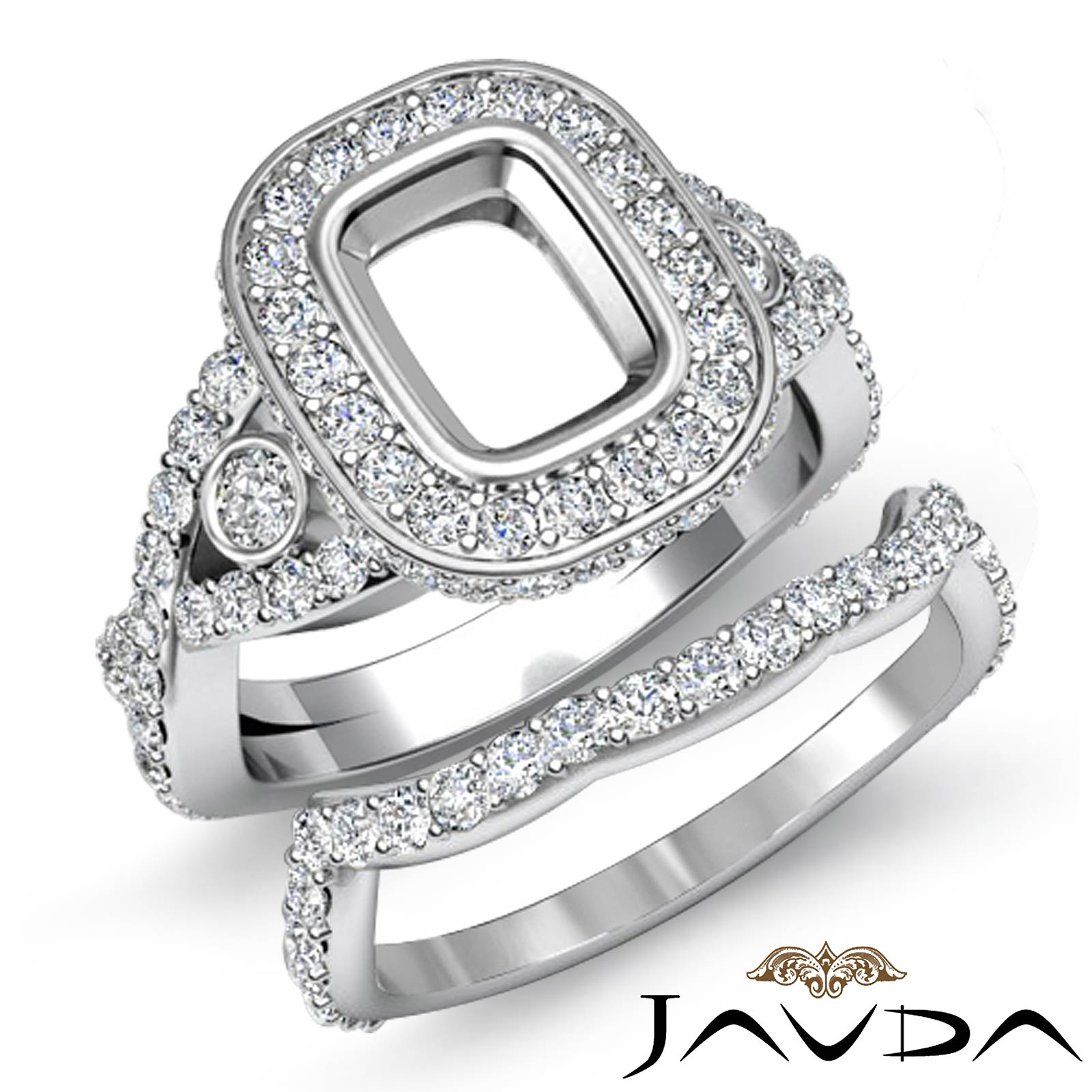 Cushion Diamond Engagement Pave Ring Bridal Sets Platinum