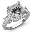 Round Princess Diamond 3 Stone Engagement Ring Setting 14k White Gold Semi Mount 1.15Ct - javda.com