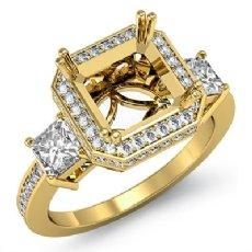 Round Princess Diamond 3 Stone Engagement Ring Setting 18k Gold Yellow Semi Mount  (1.15Ct. tw.)