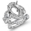 Diamond Engagement 3 Stone Ring Pear Semi Mount Bridal Set 14k White Gold 2.08Ct - javda.com