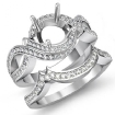1.5Ct Diamond Bridal Set Engagement Curve Shank Ring Round Semi Mount 14k White Gold - javda.com