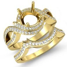 Diamond Bridal Set Engagement Curve Shank Ring Round Semi Mount 14k Gold Yellow (1.5Ct. tw.)
