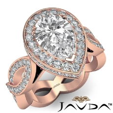 Twisted Shank Circa Halo Pave Pear diamond  Ring in 18k Rose Gold