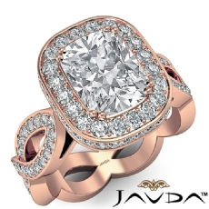 Circa Halo Pave Infinity Shank Cushion diamond engagement Ring in 14k Rose Gold