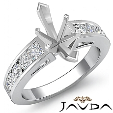 0.75Ct Marquise Diamond Channel Setting Engagement Semi Mount Ring 14k White Gold