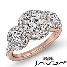 Halo Micro Pave Three Stone diamond Ring 14k Rose Gold