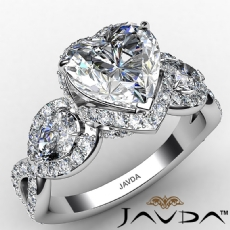 3 Stone Halo Micro Pave Set Heart diamond engagement Ring in 14k Gold White