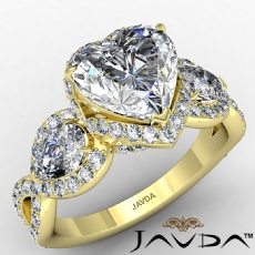 3 Stone Halo Micro Pave Set diamond Ring 14k Gold Yellow