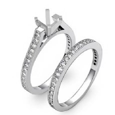 0.57C Pave Princess Diamond Engagement Bridal Ring Set 14K White Gold Semi Mount