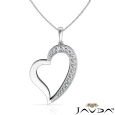 0.15 CT Round Pave E - F color Diamond Heart Pendant 18k White Gold with  Silver Chain 18
