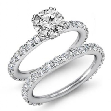 Prong Bridal Set Sidestone Round diamond engagement Ring in 14k Gold White