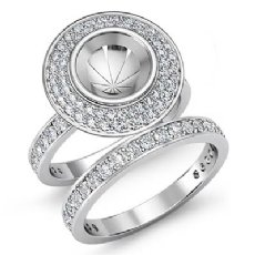 1.28Ct Diamond Engagement Ring Round Pave Bridal Sets 14K White Gold Semi Mount