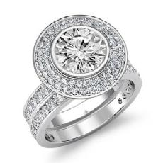 Bezel Gala Halo Bridal Set Round diamond engagement Ring in 14k Gold White