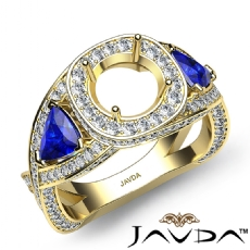 3 Stone Diamond Engagement Trillion Round Semi Mount Ring 14k Gold Yellow  (1.3Ct. tw.)