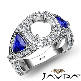 3 Stone Diamond Engagement Trillion Round Semi Mount Ring 14k White Gold 1.84Ct