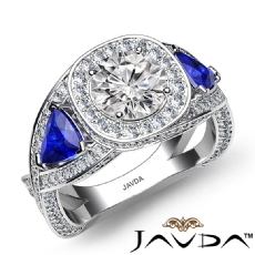 Trillion Three Stone Halo Pave Round diamond engagement Ring in 18k Gold White