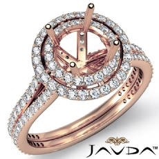 Round Shape Diamond Engagement Ring SemiMount Halo Setting 14k Rose Gold (1.55Ct. tw.)