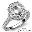 Diamond Engagement Ring 14k White Gold Oval Semi Mount Halo Pave Setting 1.5Ct - javda.com