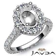 Diamond Engagement Ring 14k White Gold Oval Semi Mount Halo Pave Setting 1.5Ct