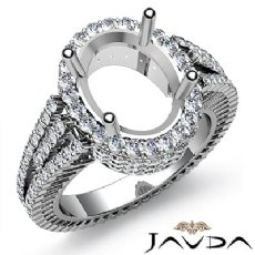 Diamond Engagement Ring Oval Semi Mount 14K White Gold Halo Pave Setting 2.5Ct