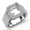 1.5Ct Diamond Engagement Ring Princess Semi Mount Halo Setting 14k White Gold - javda.com