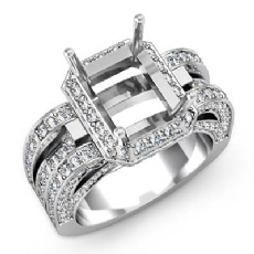 1.7C Diamond Engagement Ring 14k White Gold Radiant Semi Mount Halo Pave Setting