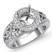 0.75Ct Diamond Engagement Ring Halo Setting 14k White Gold Round Cut Semi Mount - javda.com