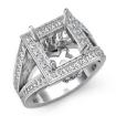 1Ct Diamond Engagement Halo Setting Ring Princess Semi Mount  14k White Gold - javda.com