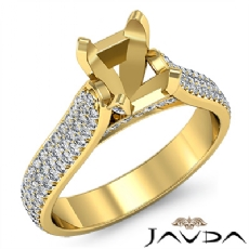 Halo Pave Setting Diamond Engagement Oval Semi Mount Ring 14k Gold Yellow  (1.45Ct. tw.)
