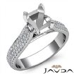 Halo Pave Setting Diamond Engagement Oval Semi Mount Ring 14k White Gold 1.45Ct - javda.com
