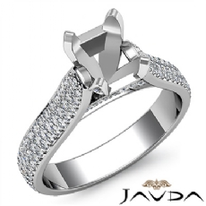 Halo Pave Setting Diamond Engagement Oval Semi Mount Ring 14K White Gold 1.45Ct