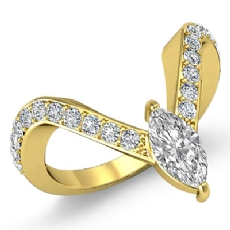 Pave Set V Style Sidestone Marquise diamond engagement Ring in 14k Gold Yellow