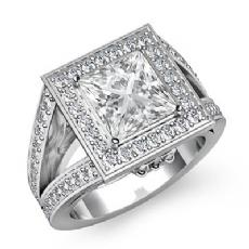 Vintage Halo Sidestone Princess diamond engagement Ring in 14k Gold White